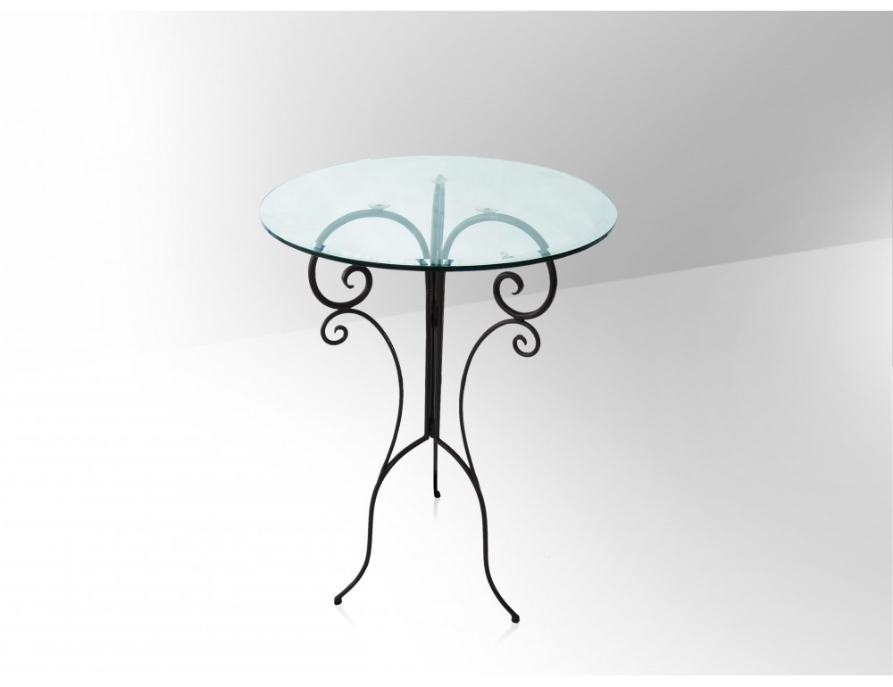 La m tallerie table haute de bar en fer forg plateau for Table haute en verre