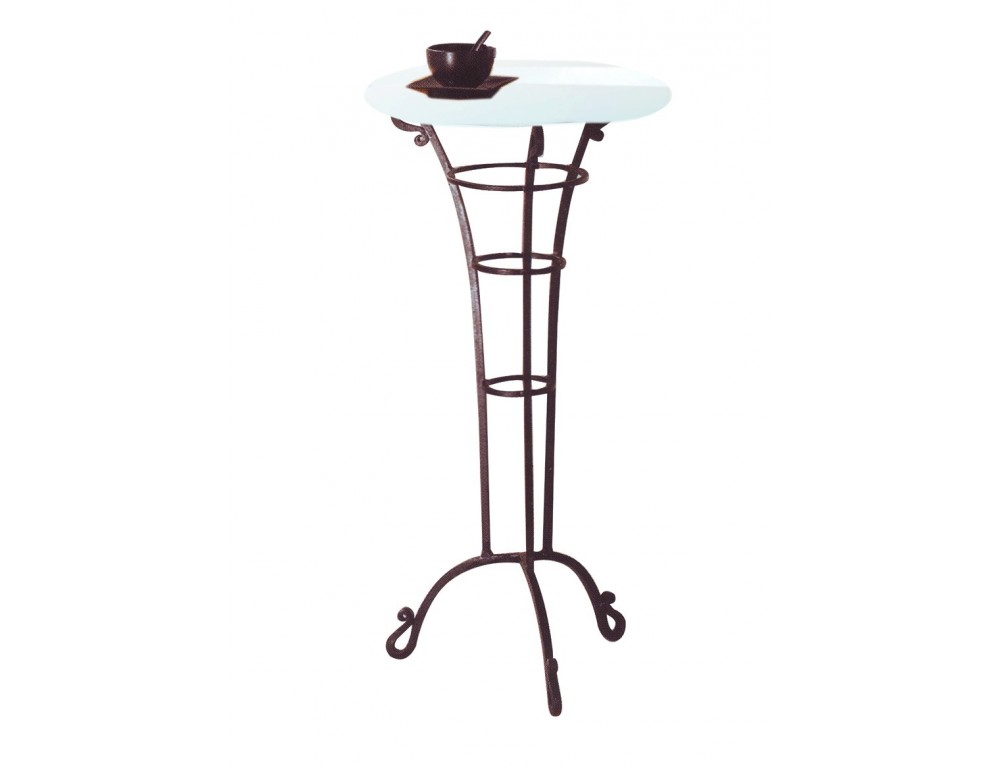 La m tallerie table haute de bar en fer forg plateau en verre - Table haute fer forge ...