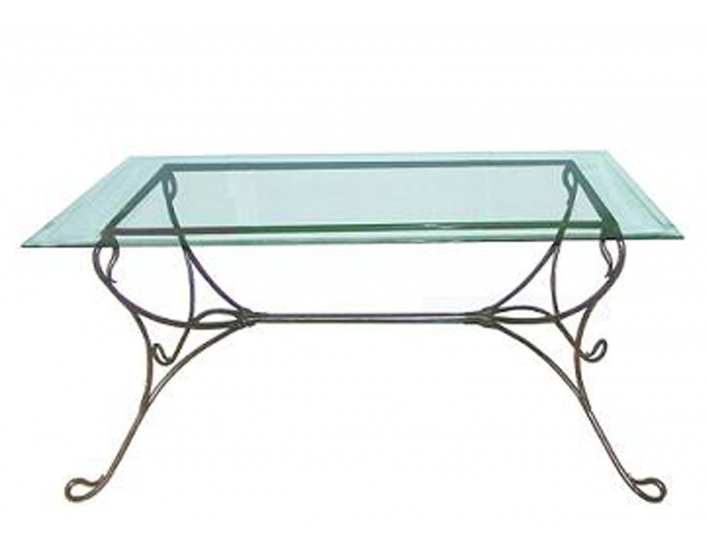 Table verre et fer for Table basse fer forge et verre