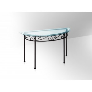 Finest console en fer forg plateau en verre with table fer forg et verre - Console fer forge conforama ...