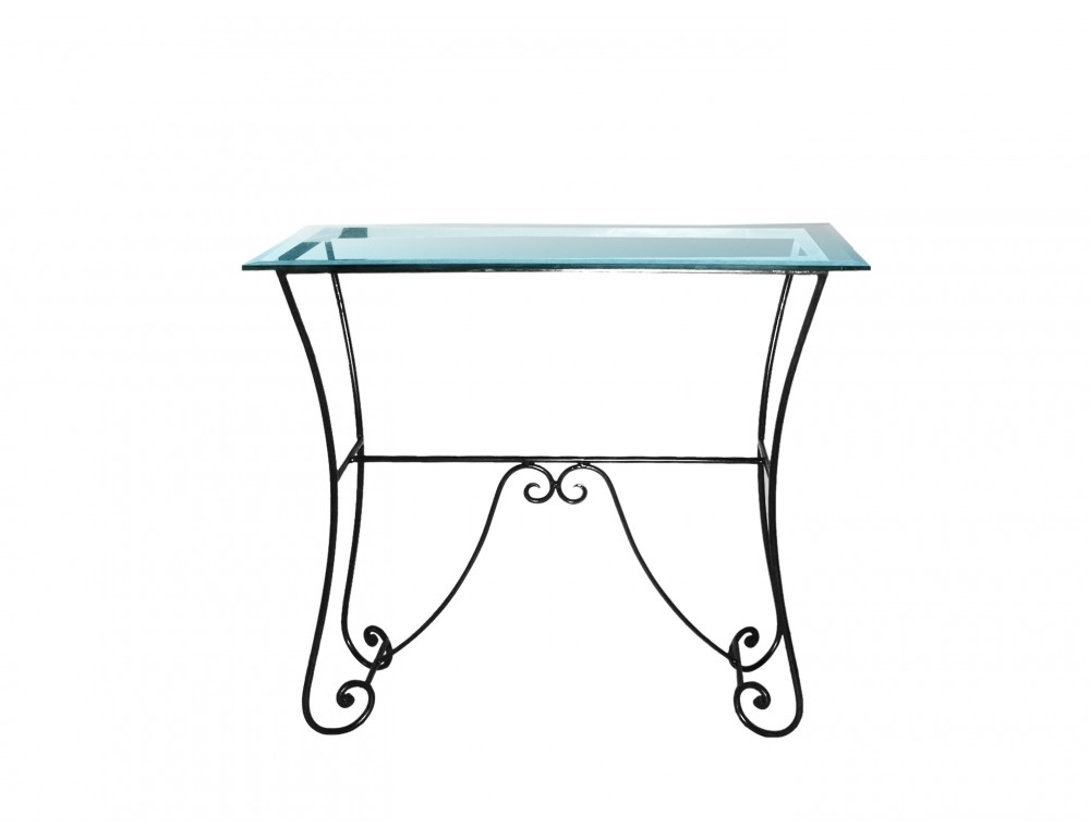 Console fer forge plateau verre - Console fer forge et verre ...
