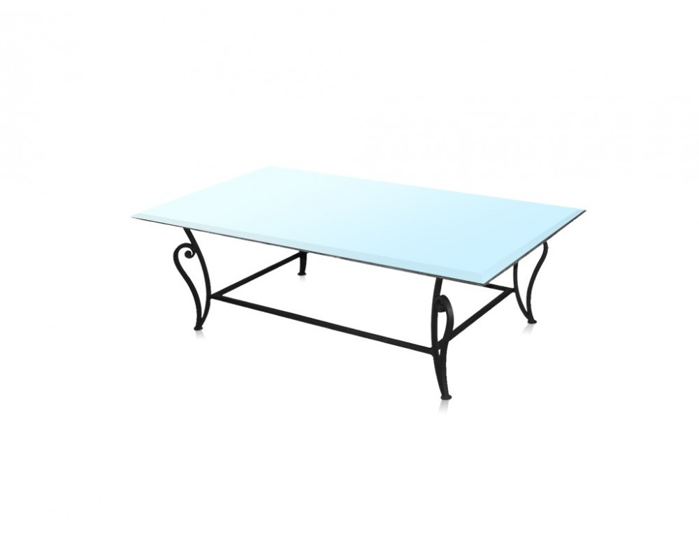 La m tallerie table basse en fer forg plateau en verre for Table basse en fer