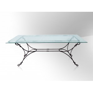 Table fer forg plateau verre table de lit for Table salle manger fer forge plateau bois