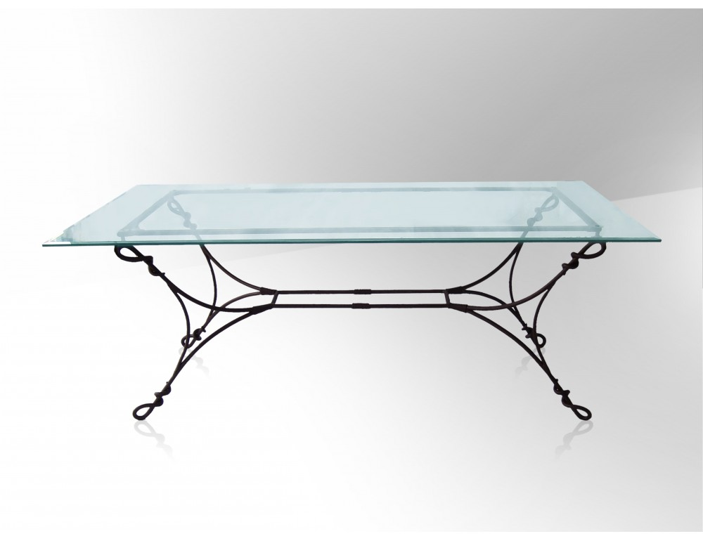Table basse fer forge plateau verre for Table salle a manger verre