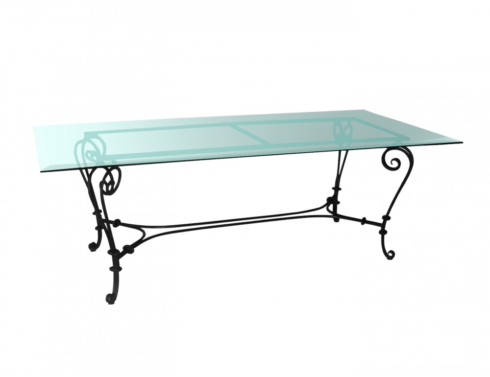 Table a manger fer forge maison design - Table salle a manger plateau verre ...