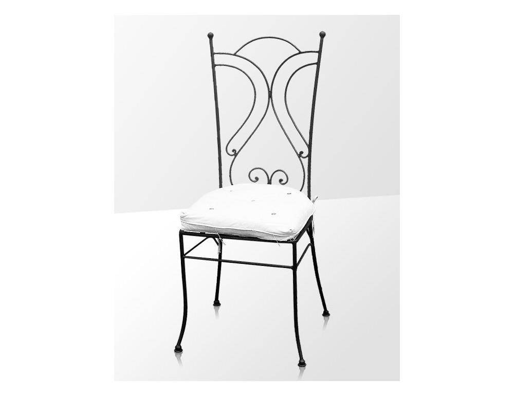 la m tallerie chaise en fer forg avec coussin. Black Bedroom Furniture Sets. Home Design Ideas