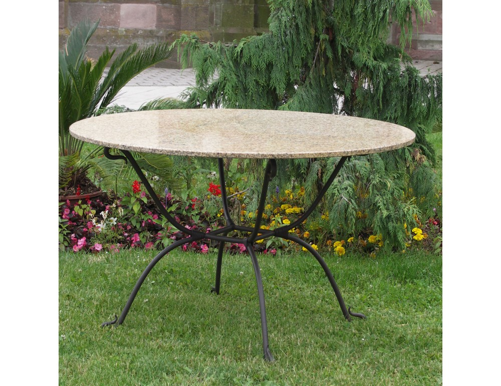 Salon de jardin table ronde fer forge for Table en verre fer forge