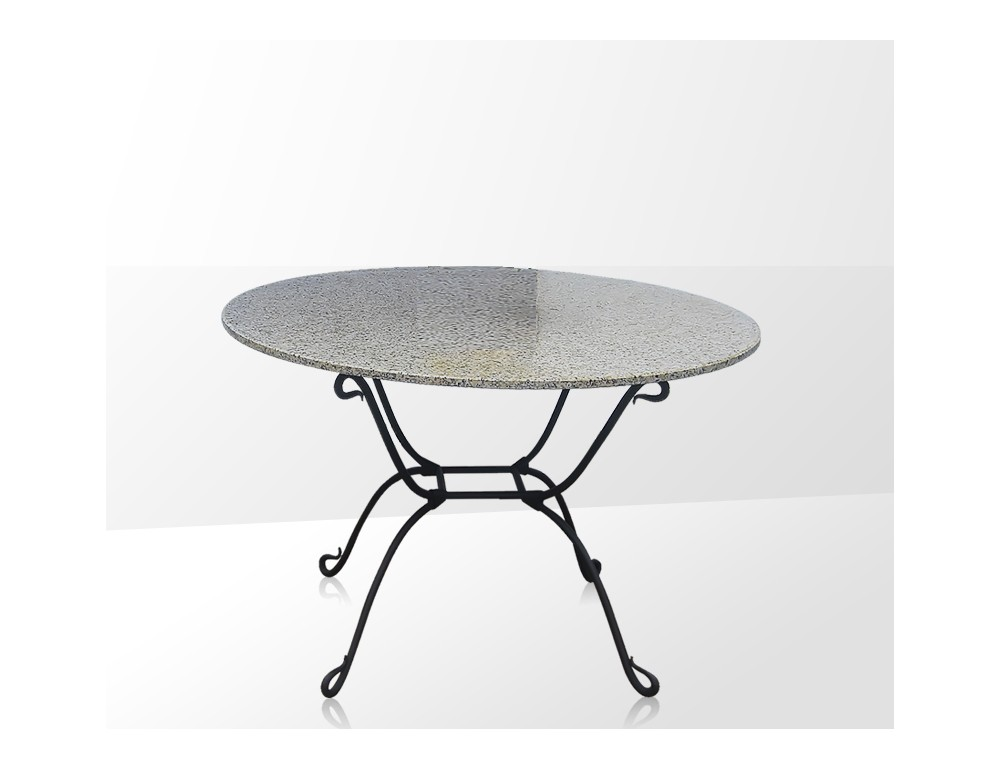 La m tallerie table ronde en fer forg plateau en verre - Table haute fer forge ...