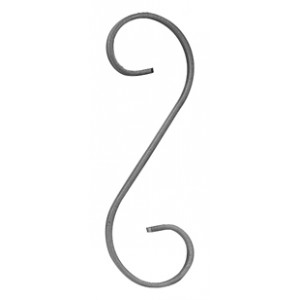 Lot de 4 Volutes en S, en fer forgé, 110x280mm en fer plat de 12x5mm